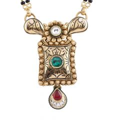 Glossy Antique Finish Gold Red Green Stone With Kundan Gold Mangalsutra - GMS301