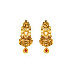 Traditional Textured Kundan Gemstone Gold Earrings
