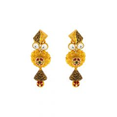 Traditional Textured Cutout Enamel Kundan Gold Earrings