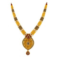 Traditional Textured Cutout Enamel Kundan Gold Necklace