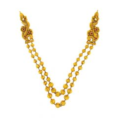 Ceremonial Two layered Hallow Ball Textured Kundan Gemstone Necklace