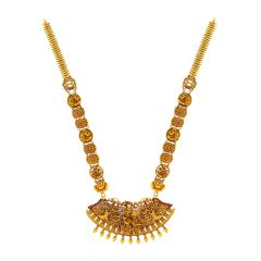 Ceremoinal Textured Temple Gemstone Gold Necklace