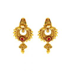 Classical Textured Kundan Gemstone Gold Earrings
