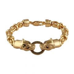Glossy Oxidise Finish Jumbled Links Panther Face Gold Bracelet-GP-211399