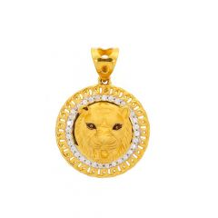 Glossy Finish Lion Face Design CZ Studded Gold Pendant