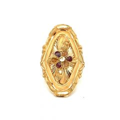 Glossy Finish Enamel Floral Design Gold Ring