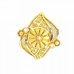Glossy Finish Filigree Floral Design Gold Ring