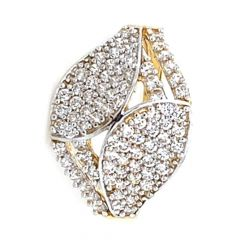 Glossy Finish Leafy Design Pave Set With CZ Studded Gold Ring