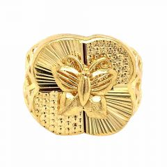 Glossy Finish Diamond Cut Hammer Butterfly Design Gold Ring