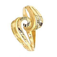 Glossy Finish Curved Design With Gold Ring