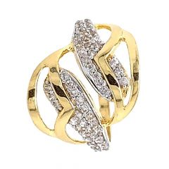 Glossy Finish Twisted Design With CZ Studded Gold Ring