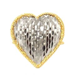 Glossy Finish Rhodium Polish Heart Design Gold Ring