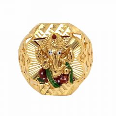 Glossy Finish Diamond Cut Enamel Lord Ganesh Design Gold Ring