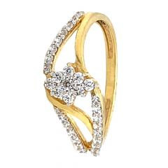 Glossy Finish Curved Floral Design With CZ Studded Gold Ring