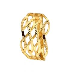 Glossy Finish Criss Cross Design Gold Ring