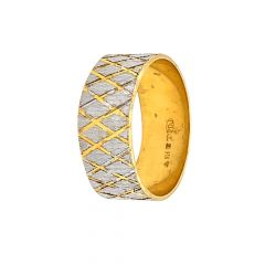 Glossy Finish Rhodium Polish Band Design Gold Ring