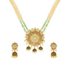 Traditional Textured Enamel Kundan Gemstone Gold Necklace Set