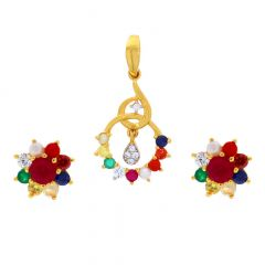 Glossy Finish Curved Leafy Floral Deisgn CZ Studded With Synthetic Navratna Gold Pendant Set