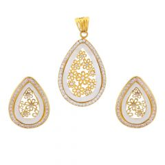 Glossy Finish Enamel Drop Filigree Floral Design With CZ Studded Gold Pendant Set