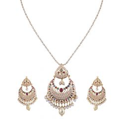 Glossy Finish Elegant Jadau Gold Pendants Set - GPS378
