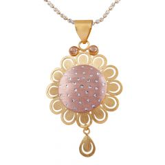 Glossy Brush Finish Diamond Cut CZ Studded Rhodhium Polish Gold Floral Pendants Set - GPS461