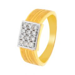 Glittering Textured Twelve Stone Diamond Ring For Him
