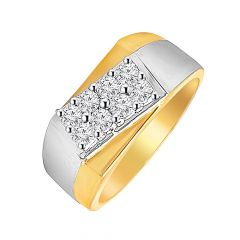 Trendy  Cross Rhodium Design Mens Diamond Ring