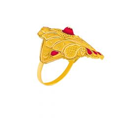 Classical Textured Leaf Cutout Enamel Gold Rings