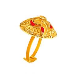 Traditional Textured Enamel Embossed Dome Floral Gold Ring