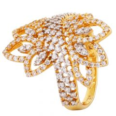 Floral Design Prong Set CZ Gold Ring - GR1901