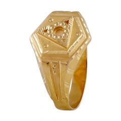 Glossy Finish Hexagon Triangle Design Diamond Cut Mens Gold Ring-GR213775