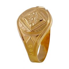 Glossy Matte Finish Diamond Cut Design Mens Gold Ring-GR213777