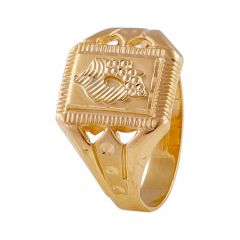 Glossy Finish Embossed Diamond Cut Leafy Design Mens Gold Ring-GR214189