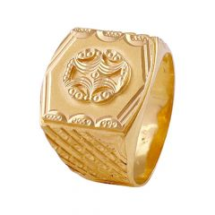 Engraved Embossed Diamond Cut Symbol Mens Gold Ring-GR214559