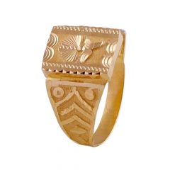 Glossy Textured Finish Embossed Floral Design Mens Gold Ring -GR215282
