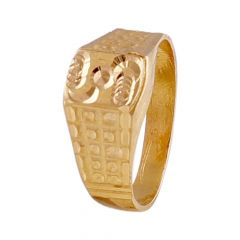 Glossy Finish Embossed Design Kids Gold Ring-GR215379