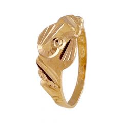Matte Sand Blast Finish Spiral Diamond Cut Design Kids Gold Ring-GR215468