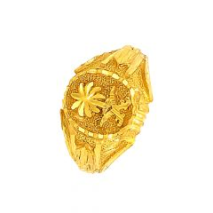 Ceremonial Textured Gold Ring For Him