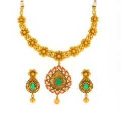 Antique Finish Floral Leafy Design Emerald With Synthetic CZ Gold Necklace Set