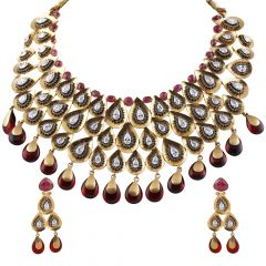 Antique Drop Pear Shape Bridal Kundan Neckalce Set - GS252