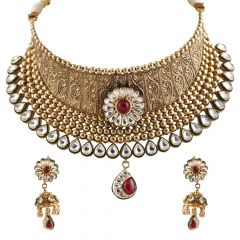 Antique Embossed Kundan Center Floral Drop and Balls Design Necklace Set - GS488