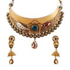 Antique Finish Embossed Center Floral and Feather Design Kundan Necklace Set - GS526