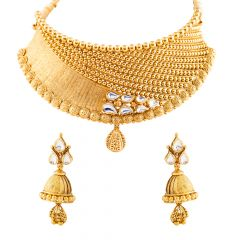 Antique Gold Balls Design Bridal Mat Finish Kundan Necklace Set - GS683