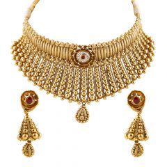 Antique Gold Balls And Mat Finish Pear Drop Kundan Neckalce Set Bridal Jewellery - GS685