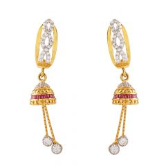 Glossy Glittering CZ With Red Stone Jhumki Gold Earring - GT1254