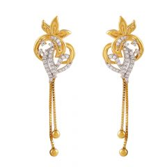 Glossy Finish CZ Studded Floral Drop Gold Ball Earring - GT1374