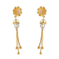 Matte Glossy Finish CZ Studded Floral Drop Gold Ball Earring - GT1376