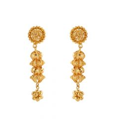 Glossy Finish Filigree Jumbled Gold Ball  Earring - GT27