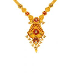 Glossy Finish Diamond Cut Floral Design Lease Colour Gold Necklace