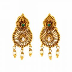 Antique Finish Drop Dangler Design Synthetic Kundan With Pearl Drop Gold Earrings